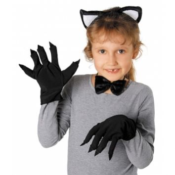 Czarne Rękawiczki Z Pazurami Kot Przebranie Kota Przebrania Na